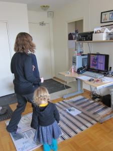 Lisa and Rachel playing StepMania