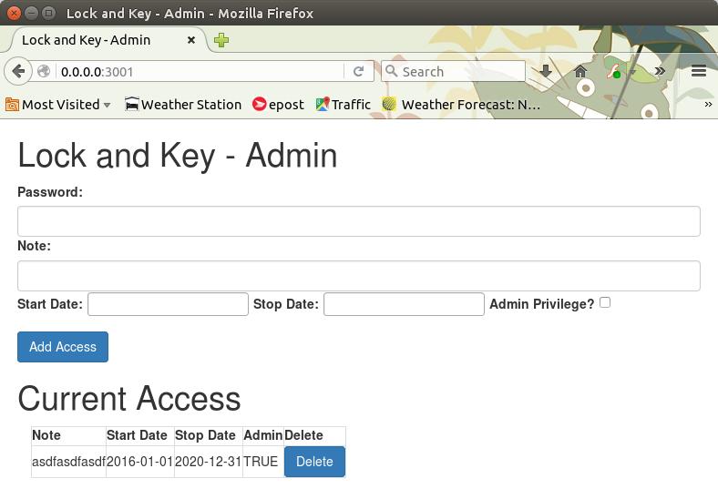 Lock and Key - Admin Screen