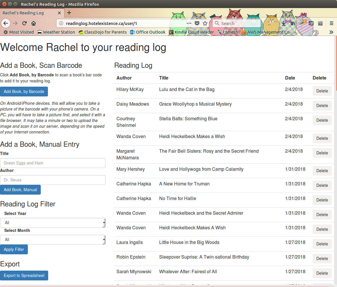 Reading Log Website
