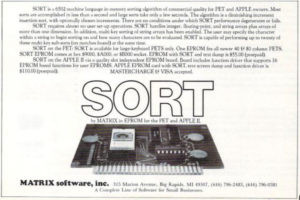 Ad for SORT, an EPROM with a sorting algorithm for Apple and Commodore PET owners.