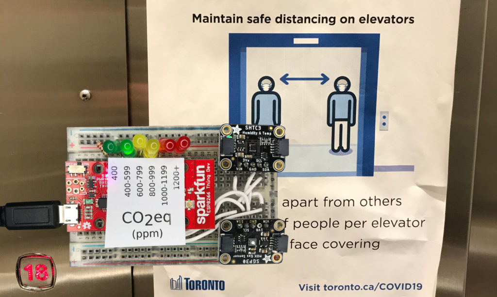Inexpensive CO2eq Sensor on Prototype Board in Elevator